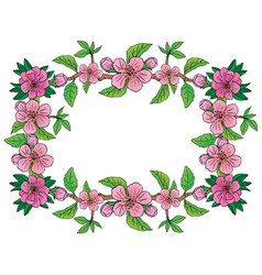 apple flower frame vector image vector image