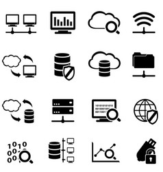 big data and cloud computing icon set vector image