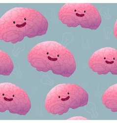 Brainstorm happy brain seamless pattern vector image vector image
