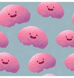 Brainstorm happy brain seamless pattern vector