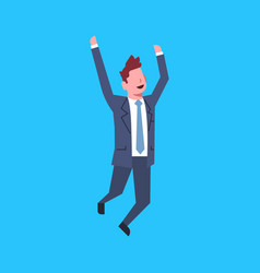 business man jump cheerful office worker character vector image