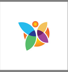 butterfly colored logo vector image