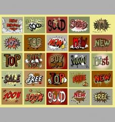 Comic book stile stickers vector