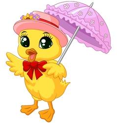 Cute cartoon duck with pink umbrella vector