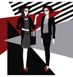 Fashionable two women style clothing detailed vector