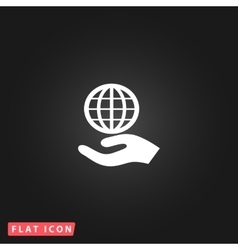 Globe icon with hand vector