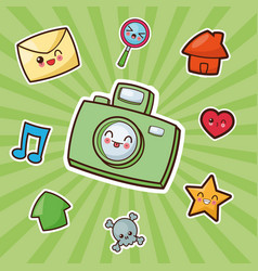 Kawaii camera photographic image vector