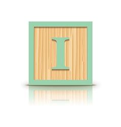 Letter i wooden alphabet block vector