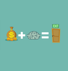 money and brain helps to find a way out way to vector image vector image