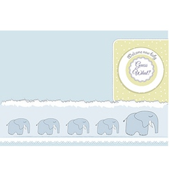New baby announcement card with elephant vector
