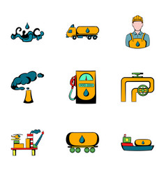 Oil industry icons set cartoon style vector