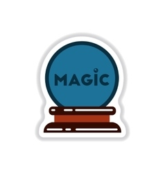 Paper sticker on background of magic ball vector