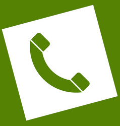 Phone sign white icon vector