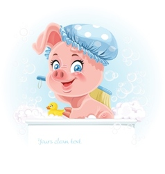 Pretty pink little piggy taking a bath and hold vector