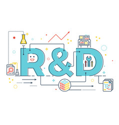 rd research and development word lettering vector image vector image
