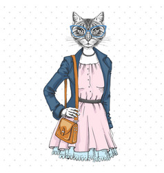 Retro hipster fashion animal cat woman model vector