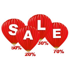 Sale Red Hot Air Balloons vector image vector image