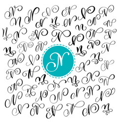 set of hand drawn calligraphy letter n vector image vector image
