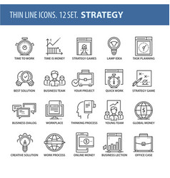 set of thin line flat icons strategy vector image vector image