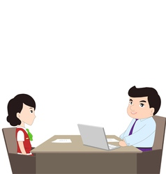 Simple cartoon of a man being interviewed vector