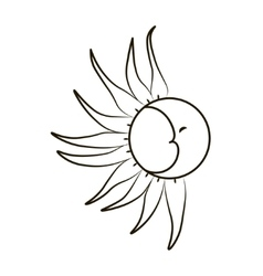 Sketch of the moon and sun on a white background vector