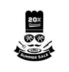 summer sale discount with sunglassescook hat and vector image vector image