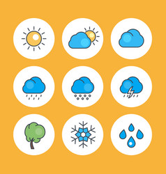 weather icons with outline vector image vector image