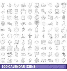 100 calendar icons set outline style vector image