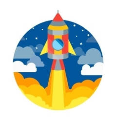 Rocket ship flying in circle vector