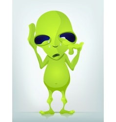Cartoon crying alien vector
