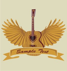 love acoustic guitar and wing vector image