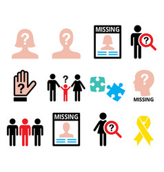 missing people - man and woman missing children vector image