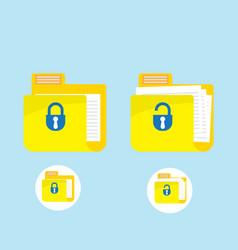 Folder locked and unlocked icon logo vector