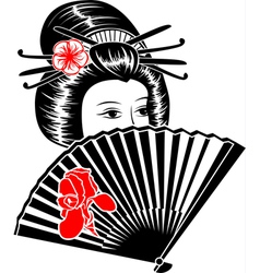 Portrait of Japanese girl with fan vector image