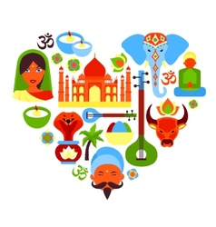 India symbols heart vector image