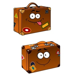 Brown travel briefcases with smiling face vector