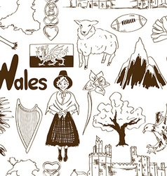 Sketch wales seamless pattern vector