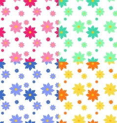 Flat floral seamless pattern vector