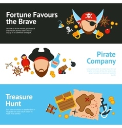 Pirate concept flat banners set vector