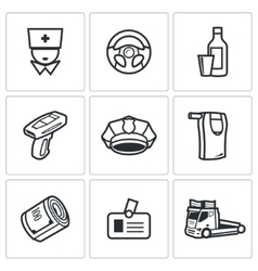 Drunken driving icons set vector