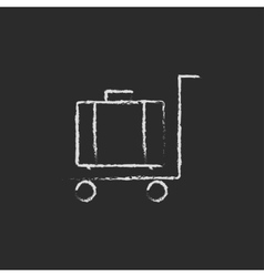 Luggage on a trolley icon drawn in chalk vector