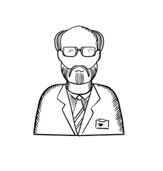 Bearded scientist in lab coat sketch vector image