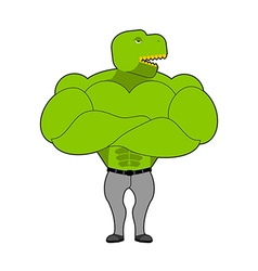 Strong tyrannosaurus with big muscles dinosaur vector