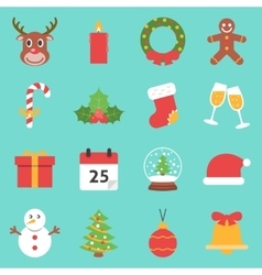 Christmas holiday icons flat vector