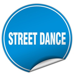 Street dance round blue sticker isolated on white vector