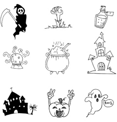 Halloween element castle pumpkins ghost in doodle vector