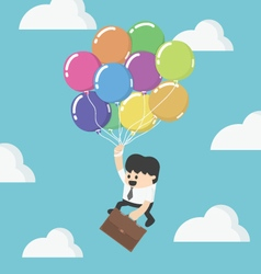 Businessman fly up away high on balloon young vector