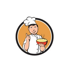 Asian chef noodle bowl circle cartoon vector