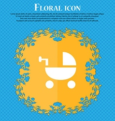 Baby stroller icon sign floral flat design on a vector