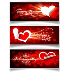 banners on valentines day vector image vector image